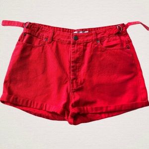 ASOS Red High Waisted Shorts Size 12